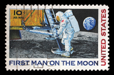 Stamp printed in USA shows Astronaut Neil Armstrong on the Moon, circa 1969