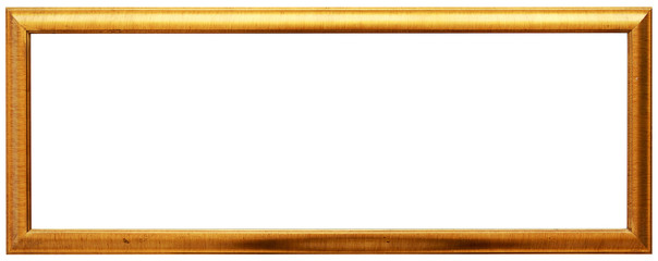 Golden vintage frame isolated on white. Gold frame wide and abstract design.