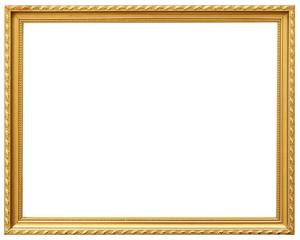 Golden vintage frame isolated on white. Gold frame abstract design.