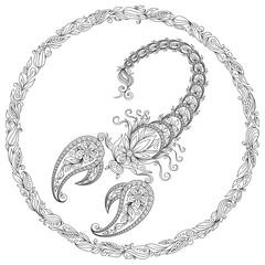 Hand drawn line flowers art of zodiac Scorpio.