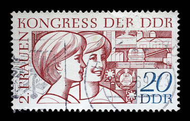 Stamp printed in GDR (East Germany), shows two young women, devoted to the Second Congress of Women GDR, circa 1969