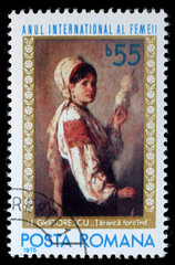 "Stamp printed by Romania, shows picture ""Woman spinning"" by Nicolae Grigoresky, circa 1975"