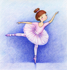 Child's picture of little beautiful ballet-dancer on the stage by the color pencils