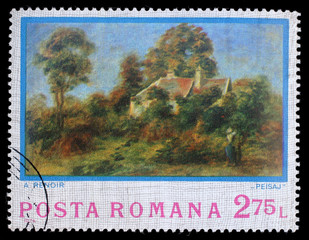 Stamp printed by Romania, shows picture Landscape by Auguste Renoir, circa 1974
