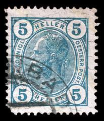 Stamp printed by Austria, shows Emperor Franz Joseph, circa 1907