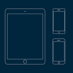 Set of tablet PC and smartphones outline icons on blue background. Mobile phone mock up. Computer tablet mockup. Perfect for application demo. Linear design. Isolated vector illustration.