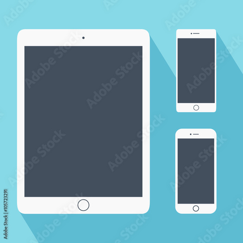 Set Of White Tablet Pc And Smartphones In Flat Style Computer