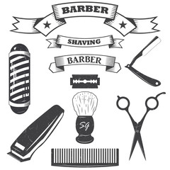 Set of vintage barber shop logo, labels, badges and design element. ribbons. vector. monochrome style.