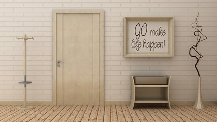 Motivation words Go make life happen in picture frame, entrance background on the decorative brick wall with wooden floor.