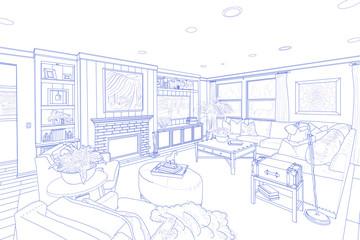 Blue Line Drawing of a Custom Living Room
