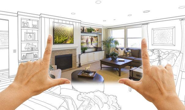 Hands Framing Custom Living Room Drawing Photograph Combination