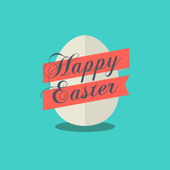 Happy Easter vector egg icon.Vector Egg icon for easter design. Happy Easter egg with ribbon and text isolated.Easter design element.