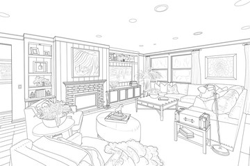Black Line Drawing of a Custom Living Room
