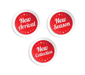 New Arrival, New Season & New Collection Stickers