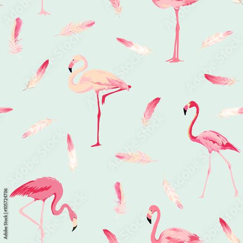 Flamingo Bird Background. Flamingo Feather Background. Retro Seamless Pattern