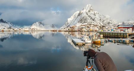Photographer at work, Lofoten island