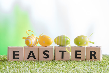 Easter eggs on the word easter