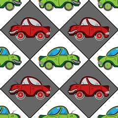 Retro seamless pattern with red and green vintage flat cars. Vector illustration