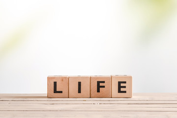 Life sign made of wooden blocks