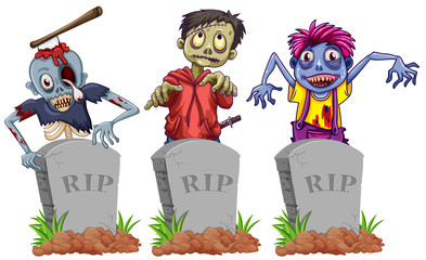 Zombies and grave stones