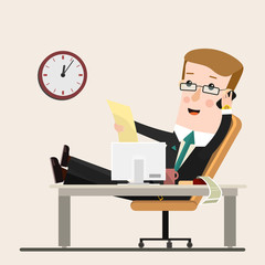 Businessman working at office, vector illustration, flat style.  Business concept cartoon illustration