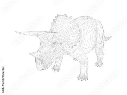 3d Wireframe Dinosaur Stock Photo And Royalty Free Images On