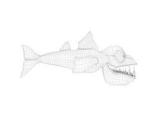 3d wireframe scary fish