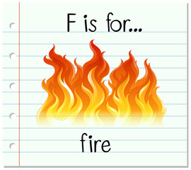 Flashcard letter F is for fire