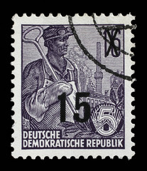 Stamp printed in GDR, shows a worker, series Five-year plan, circa 1955