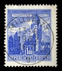 Stamp printed in Austria shows Munzturm hall in Tirol, series, circa 1960