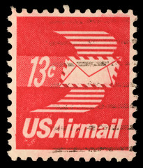 Stamp printed in United States of America shows envelope with wings, Airmail, circa 1973