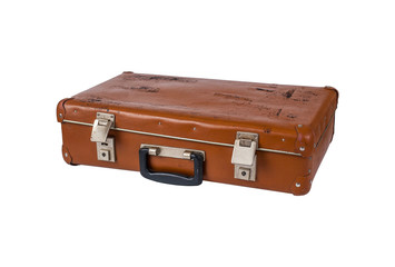 Ancient brown suitcase on a white background isolated
