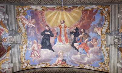 Saints, fresco in the Franciscan Church of the Annunciation in Ljubljana, Slovenia