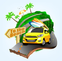 Summer Surfing Adventures Poster Design with Yellow Car Handling Three Surfboards Travel to the Beach in Vector Illustration