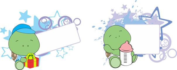 sweet baby turtle cartoon set in vector format