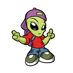 Cartoon hip hop alien