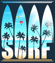 Surf Lettering Vector Illustration with Palm Trees at the Beach for Promotional Purposes