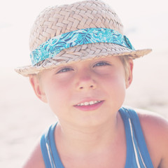 Portrait Boy Wattled Hat Summer Toned