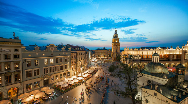 Krakow market square, Poland at sunset
