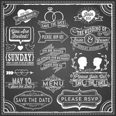 Chalkboard Wedding Invitation Elements