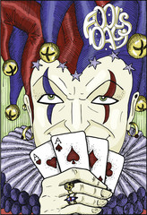 Colorful engraved card with Joker and text