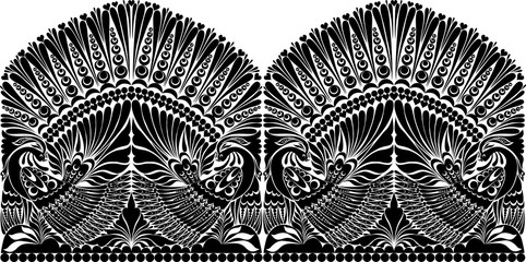 vector russian ornament withe bird