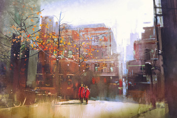 couple in red walking on street of city,digital painting