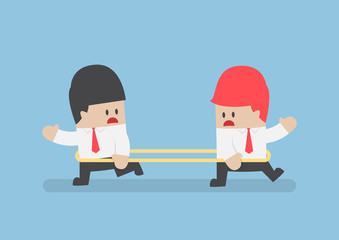 Businessmen are walking to the opposite direction from each othe