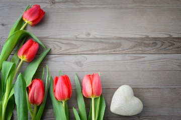 Red tulips on wooden background. Tulip and heart.