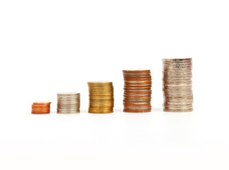 Coins graph, Money graph on a white background