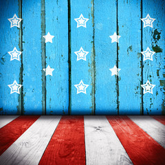 American National Flag on wooden texture background