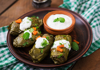 Dolma stuffed with rice and meat - greek traditional appetizer