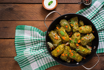 Dolma stuffed with rice and meat - greek traditional appetizer. Top view