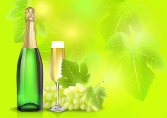 Vector champagne bottle, glass and grape on summer blur background. Created with gradient meshes. EPS 10
